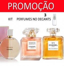 Kit 3 Decants : Perfume 100% Original Chance Chanel + Coco Mademoiselle + Chanel Nº5 + Brinde !