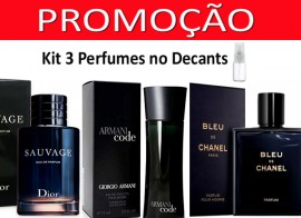 Kit 3 Decants : Perfume 100% Original Bleu de Chanel + Armani Code + Sauvage Christian Dior + Brinde !